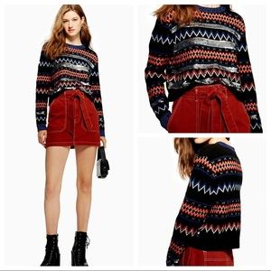 TOPSHOP Sequin Stripe Fair Isle Jumper US 10